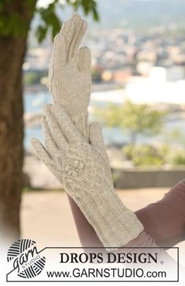 Gebreide DROPS handschoenen van Alpaca ....