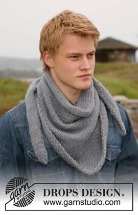 Gebreide DROPS heren sjaal zijdelings ....