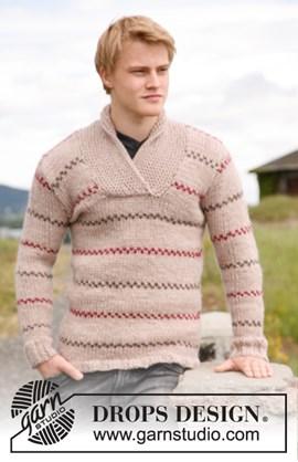 Gebreide DROPS trui voor heren met ....