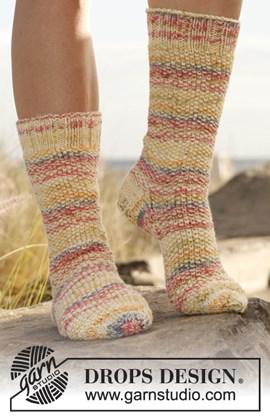 Gebreide sokken in gerstekorrel en ....