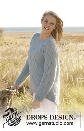 Gebreide trui met kantpatroon en raglan ....
