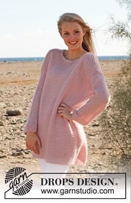 Roze gebreide trui in ribbelsteek van ....