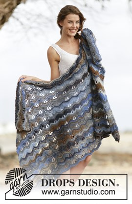 Gehaakte deken met golvenpatroon. 85 cm ....