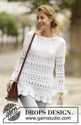 Gehaakte trui met kantpatroon en ronde ....