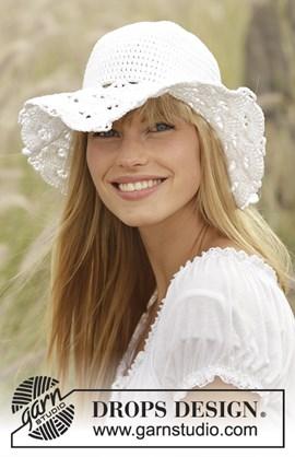 Zomerse hoed met waaierpatroon.