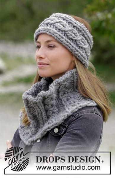 Breipatroon halswarmer en hoofdband