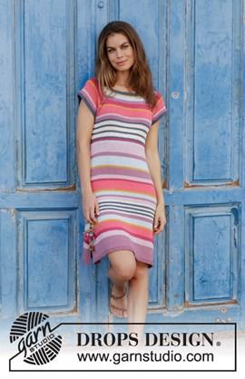Breipatroon jurk met strepen, raglan en ....