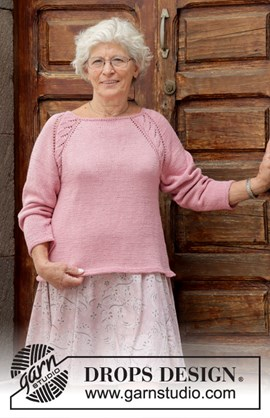 Gebreide trui met kantpatroon, raglan ....