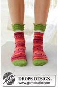 Breipatroon sokken in watermeloen ....