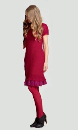 Gebreiden jurk met geplooide rand aan ....