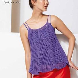 lang Yarns Lang yarns breipatroon opengewerkt damestopje met dunne schouderbandjes. Dit zomerse hemdje in A-lijn is gemaakt van het garen Lang yarns Divina.