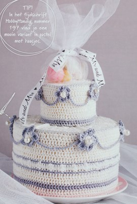 Haakpatroon mini bruidstaart van het ....