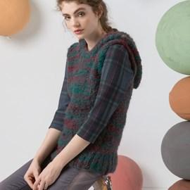 lang Yarns Breipatroon kleurrijk mouwloos hemd met capuchon. Van het Lang Yarns garen Bruna.