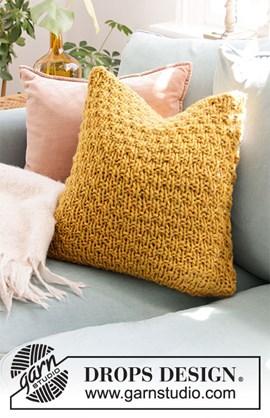 DROPS breipatroon tea and honey pillow, ....