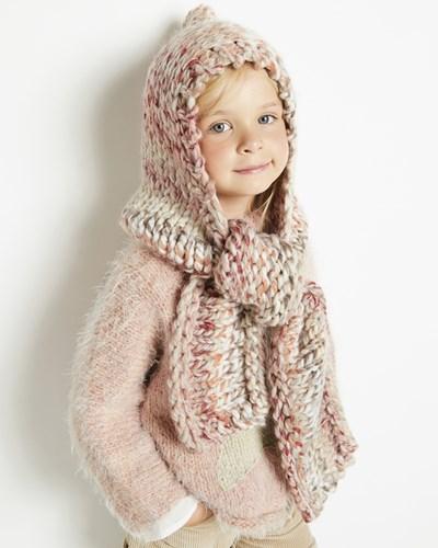 Breipatroon sjaal met muts voor meisjes
