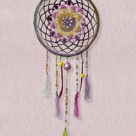 lang Yarns Haakpatroon dromenvanger met een doorsnee van circa 20 cm, gemaakt van het garen Lang Yarns Mille Colori Baby 845.