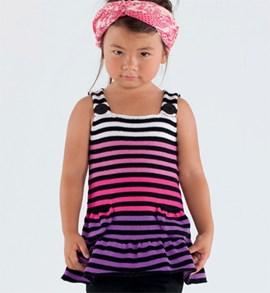 Kleurrijke meisjes jurk in strepen, ....