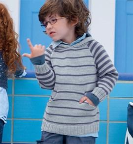 Jongens trui in strepen met kap.
