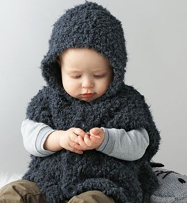 Breipatroon baby poncho met capuchon ....