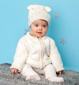 Gebreiden vest voor een baby met rits.