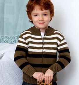 Breipatroon jongensvest met strepen en ....
