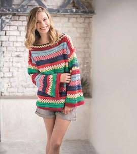 Haakpatroon dames trui in strepen van ....