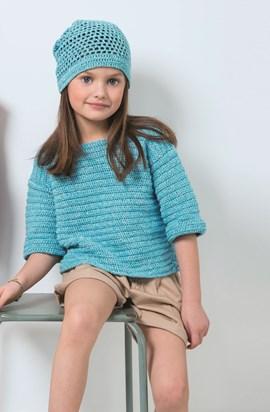 Haakpatroon meisjes trui met korte mouw ....