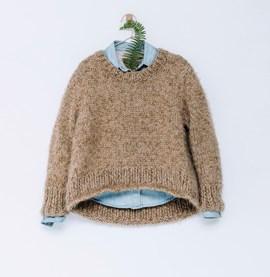 Breipatroon wijde korte trui met rond ....