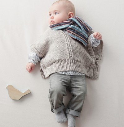 Breipatroon Poncho voor baby