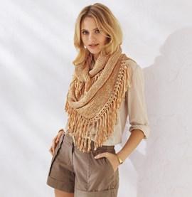 Breipatroon sjaal met franjes, gemaakt ....