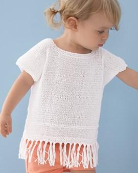 Breipatroon meisjes shirt met franje en ....