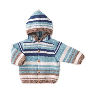 Breipatroon Vest met capuchon voor baby