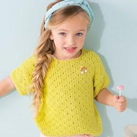 lang Yarns Phildar breipatroon meisjesshirt met korte mouwtjes en ronde hals. Dit zomerse truitje in fantasie steek is gemaakt van het garen Phil Tropical.