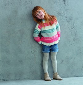 Breipatroon meisjes trui met strepen ....