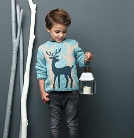 Gebreide jongenstrui met een hertje ....