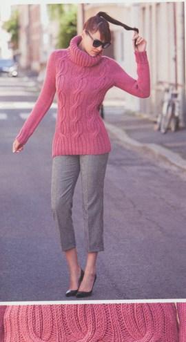 Breipatroon dames trui met grote col en ....