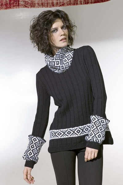 Breipatroon Dames trui, kraag en armswarmers