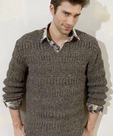 lang Yarns Breipatroon herentrui met horizontaal en verticaal ingebreid strepenpatroon. Deze trui is gebreid van het Lang Yarns garen Donegal.