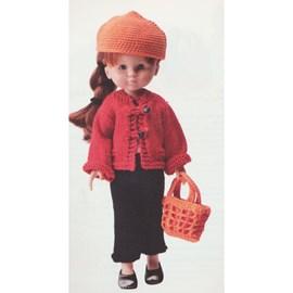 Kledingset voor de pop bestaande uit; ....