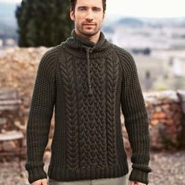 Bergere de France Gebreiden trui met kabels voor heren.