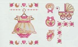 Romantisch borduurpatroon van jurkje, ....