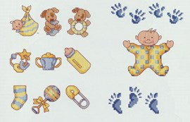 Leuke borduurmotiefjes om de babyuitzet ....