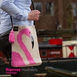 Haakpatroon flamingo tas, gemaakt van ....