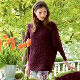 Gebreide trui met korte mouwen en col.