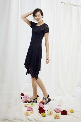 Breipatroon jurk met korte mouwen, ....