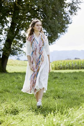 Haakpatroon boa sjaal, gemaakt van Lang ....