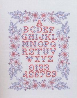 Geborduurd alfabet en cijfers, omlijst ....
