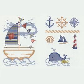 Geborduurde boot met accessoires en een ....