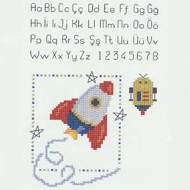 Geborduurde raket met letters, leuk ....