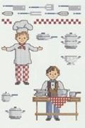 Borduurpatroon kok en ober.